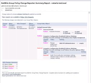 Пример отчета NetWrix Group Policy Change Reporter